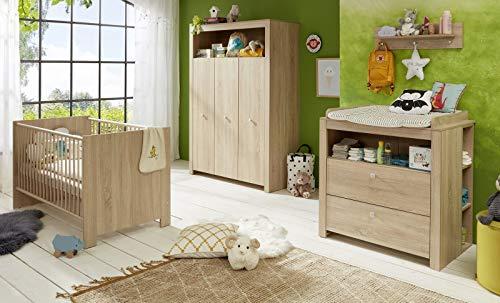trendteam smart living Babyzimmer 3-teiliges Komplett Set Olivia, 0 x 0 x 0 cm Eiche Sägerau hell mit viel Stauraum