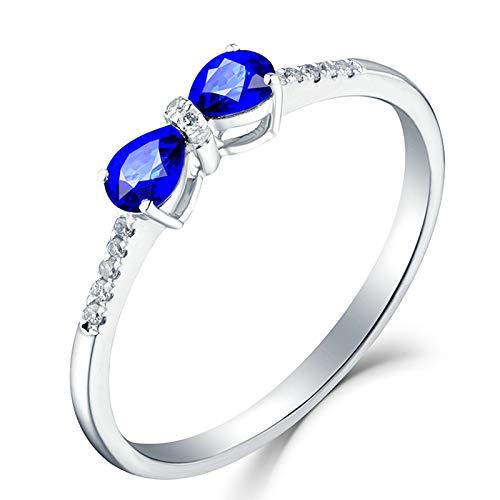 Beydodo Anillo de Oro 18K Mujer Azul Lazo Gota Zafiro Azul Blanco 0.9ct Anillo Talla 6,75