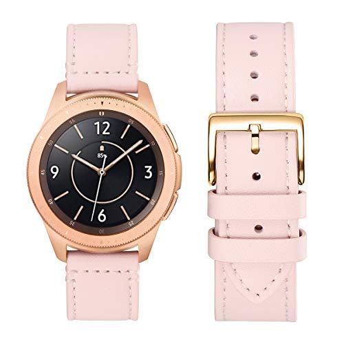 WFEAGL Kompatibel mit Samsung Galaxy Watch 46mm Armband/Gear S3 Frontier/S3 Classic/Huawei Watch GT/Watch 2 Classic,22mm Top Grain Leder Ersatzband(22mm,Rosa Sand/Golden)