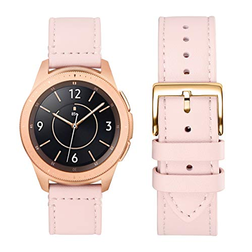 WFEAGL Kompatibel mit Samsung Galaxy Watch Armband 42mm/Gear S2 Classic/Gear Sport/Huawei Watch 2/Huawei Watch GT Elegant,20mm Top Grain Leder Ersatzband(20mm,Rosa Sand/Golden)