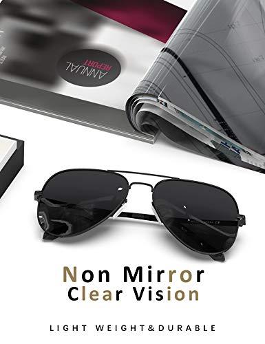 LUENX Aviator Sunglasses Polarized Mens Womens Black Lens Black Metal Frame Large 60mm
