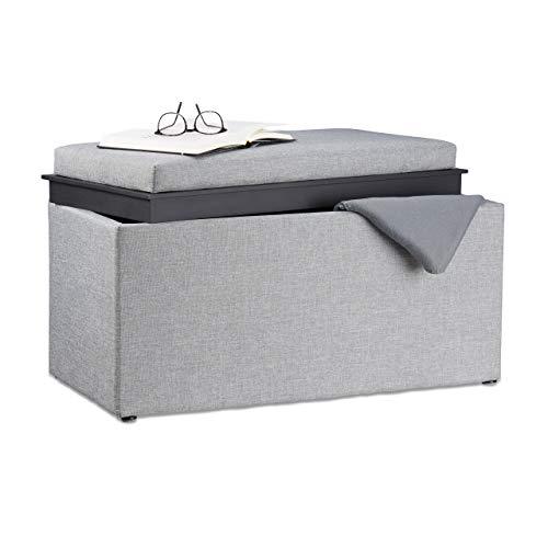Relaxdays Tabouret avec rangement HxlxP 42,5 x 78 x 40 cm coffre de rangement optique lin, gris