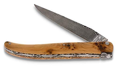 LAGUIOLE en Aubrac Messer 12 cm - Wacholder Plein Manche - Zisellierte Platine - Damastklinge - Frankreich Taschenmesser