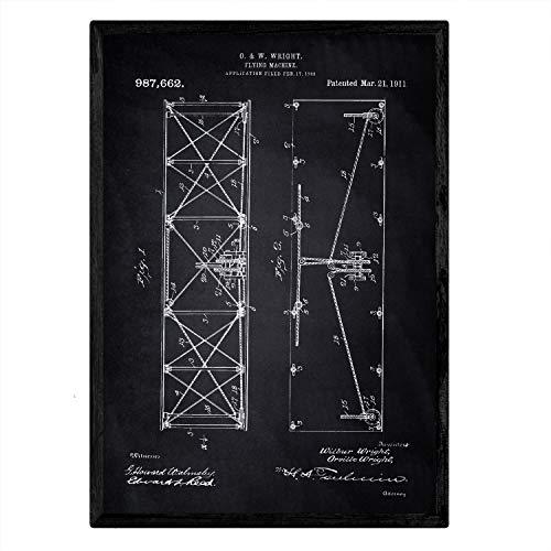 Poster Nacnic patent vliegtuigvleugel. Blad met oud ontwerp patent A3-formaat met zwarte achtergrond