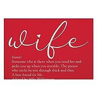 リネンPlaceMatsセット4、妻エレガントモダンシックスクリプト赤い滑り止めプレースマットダイニングキッチンレストランテーブル農家結婚式屋外屋内