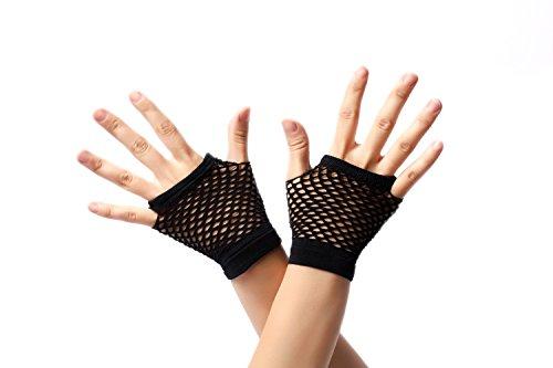 DRESS ME UP - RH-005-black Handschuhe Netzhandschuhe Schwarz fingerlos fingerfrei Netz kurz 80er Punk Rocker Wave Gothic Emo