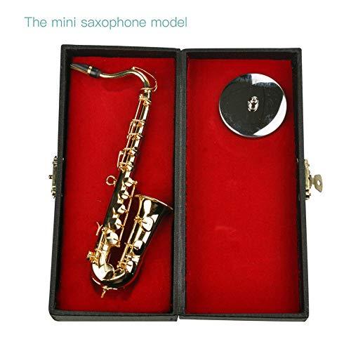 Mini saxofoon muziekinstrumenten verguld handwerk miniatuur saxofoon model met metalen standaard voor huishoudtextiel