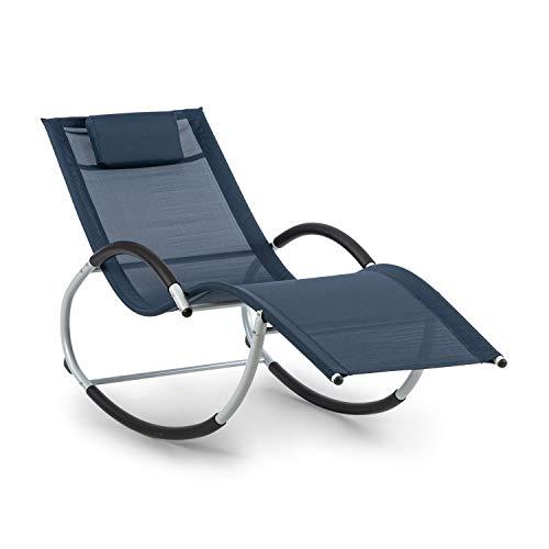 blumfeldt Westwood Rocking Chair Schaukelliege mit ergonomischer Liegefläche, extrem strapazierfähige Materialien, Pflegeleichte Textilstruktur, Wasserabweisende Pulverbeschichtung, dunkelblau