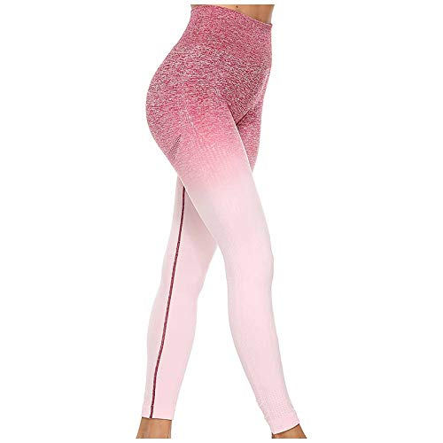 Pantalones Yoga Color Degradado para Mujer Ejercicio cómodo Levantamiento glúteos Cadera Cintura Alta Pantalones Yoga Ajustados Control Abdomen Entrenamiento Yoga Mallas Motociclista