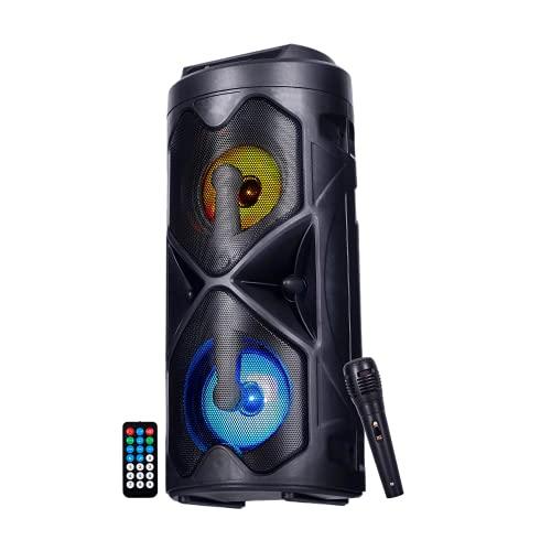 NK Mini Tower Altavoz de Suelo Portátil - Mini Torre de Sonido Bluetooth, 10W, Inalámbrico, Luces Led, Mando a Distancia, USB/AUX/FM, Modo Karaoke (Micrófono Integrado)