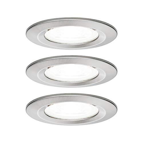 Paulmann 92983 Nova-Foco LED Redondo para empotrar Focos empotrables (3 Unidades, 6,5 W, Hierro Cepillado, Aluminio, 4000 K, GU10)