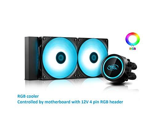 DEEP COOL Gammaxx L240 V2 RGB AIO CPU Wasserkühlung CPU-Flüssigkeitskühlung 2x120mm PWM Lüfter, 3 Jahre Garantie