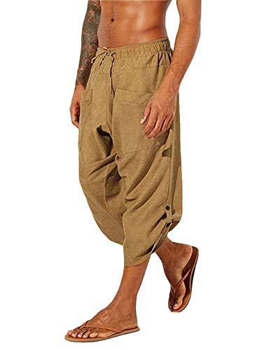 Gafeng Mens Yoga Capri Pants Casual Baggy Elastic Waist Drawstring Gym Sports Cotton Shorts 3/4 Pants with Pockets Yellow