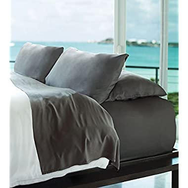 Cariloha Resort Bamboo Sheets 4 Piece Bed Sheet Set - Luxurious Sateen Weave - 100% Viscose from Bamboo Bedding (Graphite, King)