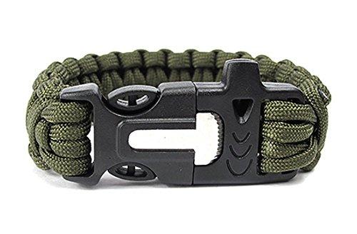ZENDY Paracord Bracelet Corde avec racleur Inoxydable Firestarter et Survie en Plein air Multifonctions sifflet (7 brins Cordon) (Vert)