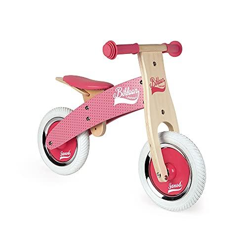 Janod - Mi primera Bicicleta sin pedales Bikloon - Madera - Aspecto Vintage - Aprendiendo Equilibrio y Autonomía - Silla Ajustable y Neumáticos Inflables - Color Rosa - A partir de 2 años