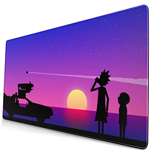 Rick and Morty Sunset Anime Large Gaming Mouse Pad with Stitched Edges, Non-Slip Rubber,Water Resist Keyboard Pad.Base for Work & Gaming, Office & Home.(15.8x29.5 Inch)