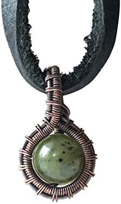 Green Nephrite Jade Antique Copper Pendant Necklace Charm For Men Jewelry Gemstone Wealth Stones product image