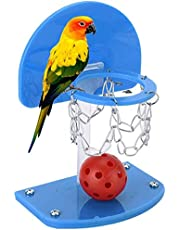 Mini Basketball Set Mini Basketball Stands Hoop Bird Basketball Game Desktop Table Bird Educational Intelligence Training Toy for Macaw African Greys Cockatoo Chew Bite Toy (Random Color)
