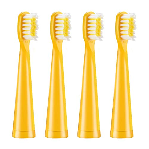 Vekkia Bear Kids Electric Toothbrush Replacement Heads - 7x More Plaque Removal, End-rounded 3D Curved Soft Bristles, Comfortable & Efficient Clean Teeth, Perfect for Kid Small Mouth, Yellow (4 Pack)
