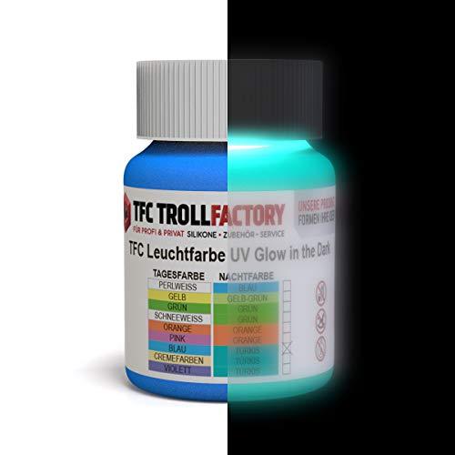 TFC Leuchtfarbe, Tagesfarbe: Blau/Nachtfarbe: Türkis I Nachleuchtende Farbe I Selbstleuchtende Wandfarbe (phosphoreszierend) I 100ml