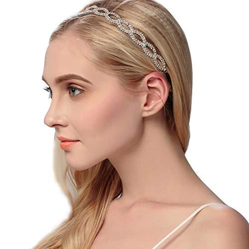 1 banda para el pelo con diamantes de imitación hechos a mano de lujo para boda, fiesta, con cristales florales y banda de goma