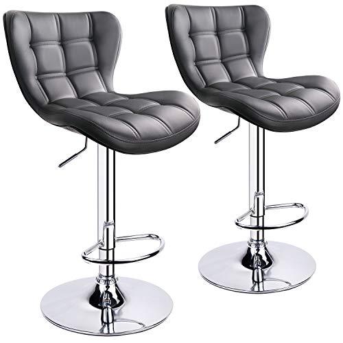 Leader AccessoriesBarhocker (2er-Set) Schalensitz Barstuhl mit Lehne stylischer Tresenhocker höhenverstellbar 62-82cm Drehstuhl 360 Grad Bezug aus Kunstleder grau