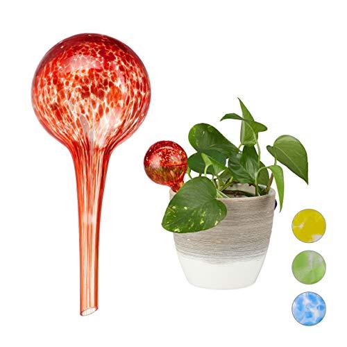Relaxdays Bewässerungskugel 2er Set, dosierte Bewässerung Pflanzen u. Blumen, Gießhilfe Büro, Urlaub, Ø 6 cm, Glas, rot, 2 Stück