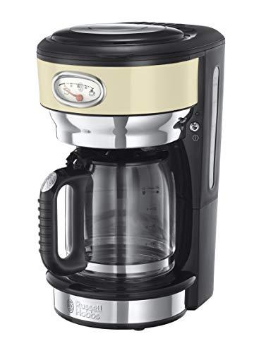 Russell Hobbs Retro 21702-56 - Cafetera de goteo, jarra cafetera de cristal para 10 tazas, 1000 W, Inox, Crema