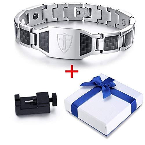 QIUXIANG-EU Männer Frauen Armbänder Armreif Stilvolle Carbon Ritter Templer Schild Magnetische Armbänder Für Männer Kreuz Glauben