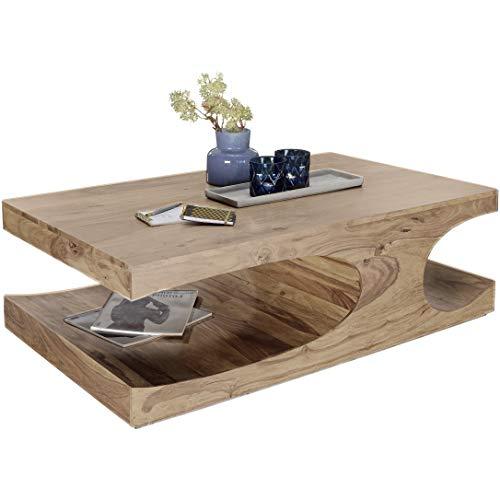 FineBuy Couchtisch Massiv-Holz Akazie 118 cm breit Wohnzimmer-Tisch Design dunkel-braun Landhaus-Stil Beistelltisch Natur-Produkt Wohnzimmermöbel Unikat modern Massivholzmöbel Echtholz rechteckig
