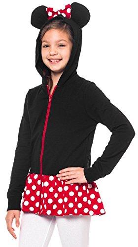 Disney Minnie Mouse Girls Sweatshirt Zip Jacket Costume Ears Ages 4-12 (Large)