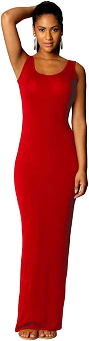 YMING Women's Casual Long Dress Simple Tank Solid Color Sleeveless Maxi Dress