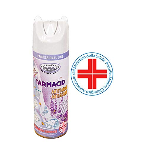 HygienFresh Tarmacid Profumo Deodorante Spray Antitarme Antiacaro Professionale per Tessuti Ambienti Guardaroba Cassetti Lavanderia Insetticida Presidio Medico Chirurgico - 400 ml (Fiori di Provenza)