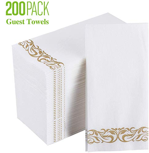 200 Pack Disposable Guest Towels, Linen-Feel Paper Hand Towels for Guest Bathroom, Durable Decorative Hand Towels for Bathroom, Parties, Weddings, Dinners or Events