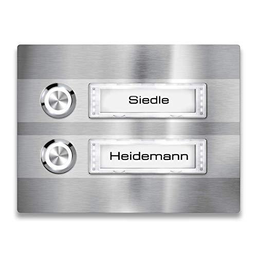 Metzler Türklingel - 2-fach Klingelplatte aus Edelstahl - Namensschild austauschbar - mit LED-Taster und Beleuchtung (optional) (Namensschild mit Beleuchtung, LED-Taster Weiß)