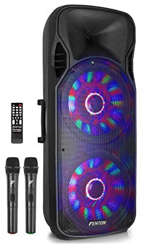Fenton Serie FTLED - Altavoces móviles con batería incorporada e iluminación LED - equipados con micrófono inalámbrico, Bluetooth, Reproductor de MP3 USB/SD, Control Remoto