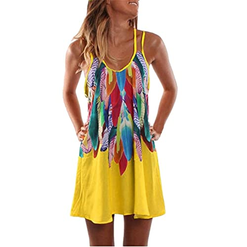 Canotta Donna personalità Moda Estate Girocollo Donna T-Shirt Unico Colorato Piuma Senza Maniche Design Donna Bluse Ogni Giorno Tempo Libero Spiaggia Vacanza Donna Tops B-Yellow 4XL