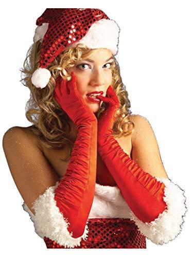 Rubie's Women's Satin Miss Santa Gloves Costume, Red/White, One Size