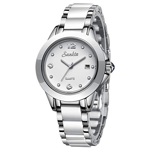 LIGE Damen Armbanduhr Frauen Mode Elegant Wasserdicht Analoger Quarz Uhr Weiblich Silber Keramik Business Uhren Weiß Zifferblatt Einfach Luxus Casaul Kleid Kalendar Damenuhr