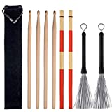 Drum Sticks Set,includes 2 pair 5A classic maple drum sticks,1 pair drum stick brush sticks,1 pair drum line retractable drum stick brushes and 1 portable storage bag,for rock band, students