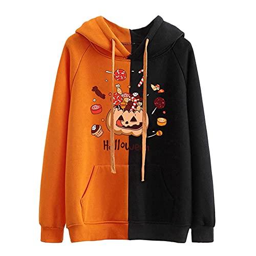 Writtian Felpa Halloween Uomo Zucca Halloween Costume Uomo Maniche Lunghe Pullover Oversize Uomo Casual Top Uomo Elegante Taglie Forti Bluse e Camicie da Uomo Taglie comode (04*Rosso, S)