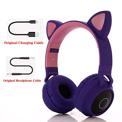 Bluetooth over-ear koptelefoon, over-ear koptelefoon Opvouwbare headset Actieve ruisonderdrukking Cat ear-koptelefoon Premium oplaadbaar HD-geluid voor school/pc/mobiel -,Purple