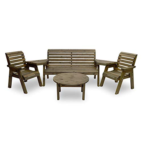 Barrowden Garden Single/Triple/Single Companion Seat (Angled) with Circular Coffee Table (Rustic Brown)