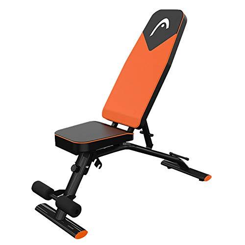 Home Fitness Banco de mancuernas de acero, tabla, ejercicio abdominal, 7 ajustes de altura, 3 tipos de cojín de asiento ajustable, poliuretano transpirable, rodamientos 300 kg, naranja, L ⭐