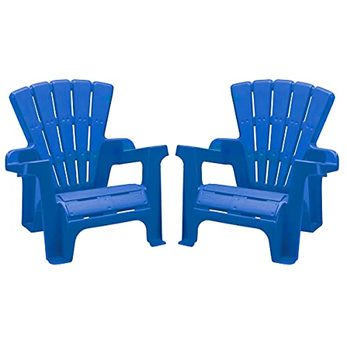 American Plastic Toys Kids' Adirondack Chairs (Pack of 2), Blue, Outdoor, Indoor, Beach, Backyard, Lawn, Stackable, Lightweight, Portable, Wide Armrests, Comfortable Lounge Chairs for Children