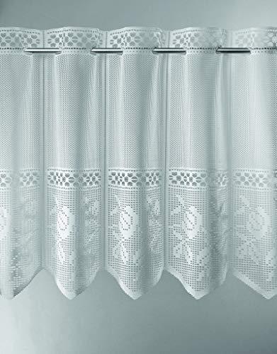 Scheibengardine Jacquard gelocht mit Blumen 45 cm hoch | Breite der Gardine durch gekaufte Menge in 28 cm Schritten wählbar (Anfertigung nach Maß) | weiß | Vorhang Küche Wohnzimmer