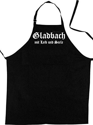ShirtShop-Saar Gladbach mit Leib und Seele; Städte Schürze (Latzschürze - Grillen, Kochen, Berufsbekleidung, Kochschürze), schwarz