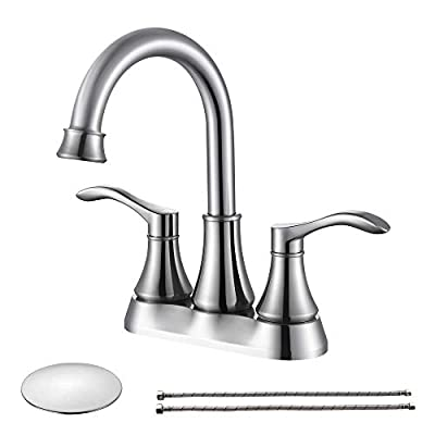 Honboo 4 inch Bathroom Faucet Brushed Nickel, Two Handle Centerset Bathroom Sink Faucets with Pop Up Drain, 4016-B-BN