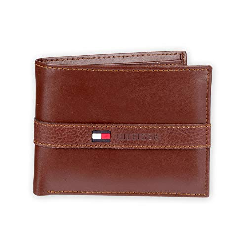 Tommy Hilfiger Men's Leather Wallet – Slim Bifold with 6 Credit Card Pockets and Removable Id Window - Brown - One Size